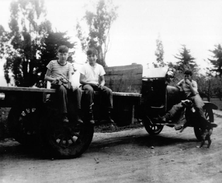 Bill Maffei, Bob, Buck with Skippy the Australian Sheppard. Early 1920s Model T (Purchased for $25).