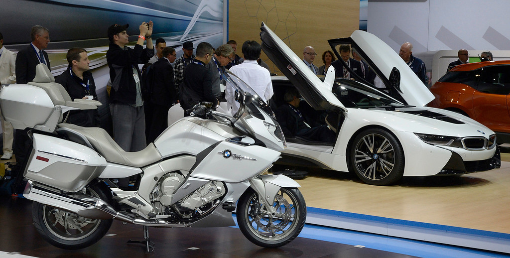 . Nov 20,2013 Los Angeles CA. USA.  BMW K1600 GTL bike and i8 car on display during the 2013 Los Angeles Auto Show. Photo by Gene Blevins/LA Daily News