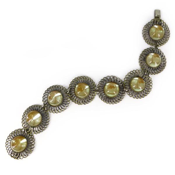 Vintage Mid Century German Sappharine Flower Glass Cabochon Bracelet