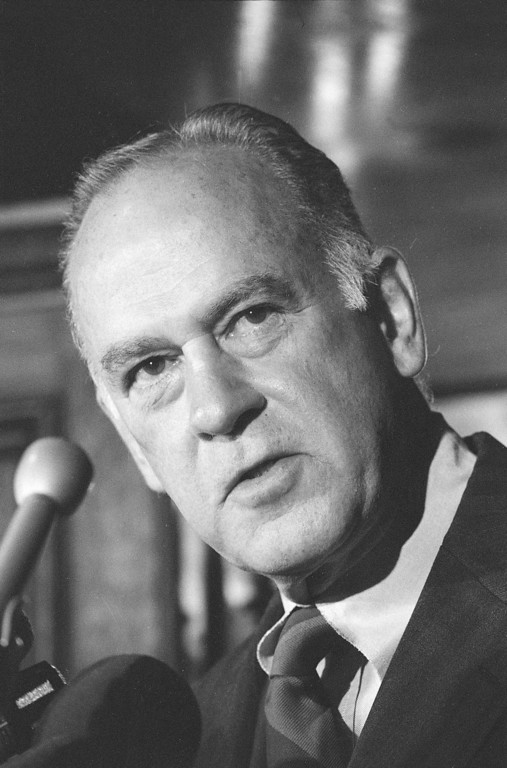 """. Associate Supreme Court Justice Potter Stewart is seen speaking to the Washington Press Club, Sept. 23, 1981.  He said it was """"no surprise"""" that Sandra Day O\'Connor was confirmed and will be a member of the Supreme Court.  (AP Photo/Dennis Cook)"""