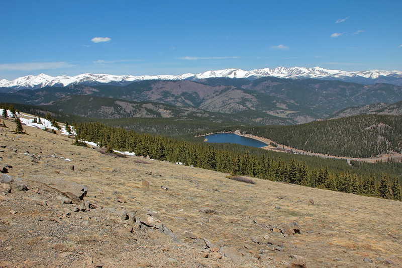 Looking down on Echo Lake from alpine tundra