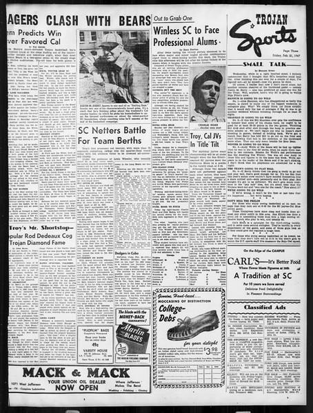 Daily Trojan, Vol. 38, No. 80, February 21, 1947