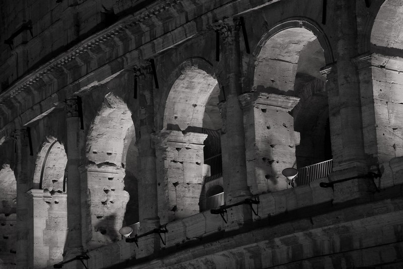 AITALY 2015,11 173A, SMALL, monochrome Colusseum arches at night, Rome.jpg