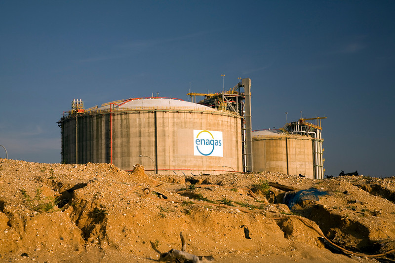 Facilities by the sea belonging to a regasification plant of Enagas, a Spanish company which involves in the regasification, storage, and transportation of natural gas. Chemical center, town of Huelva, Andalusia, southwestern Spain