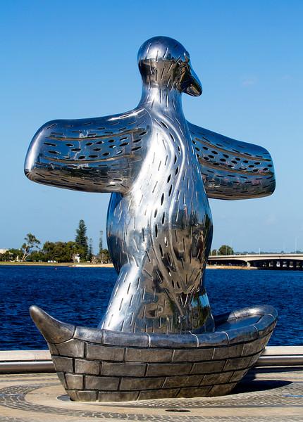 "Sculpture, ""First Contact"" at Elizabeth Quay."