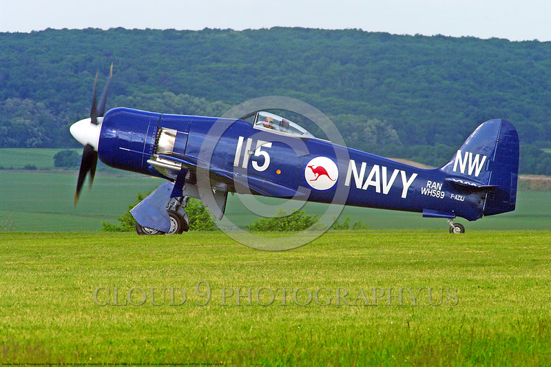 WB-Sea Fury 00063 A blue Hawker Sea Fury fighter taxis on beautiful grass warbird picture by Stephen W. D. Wolf.JPG