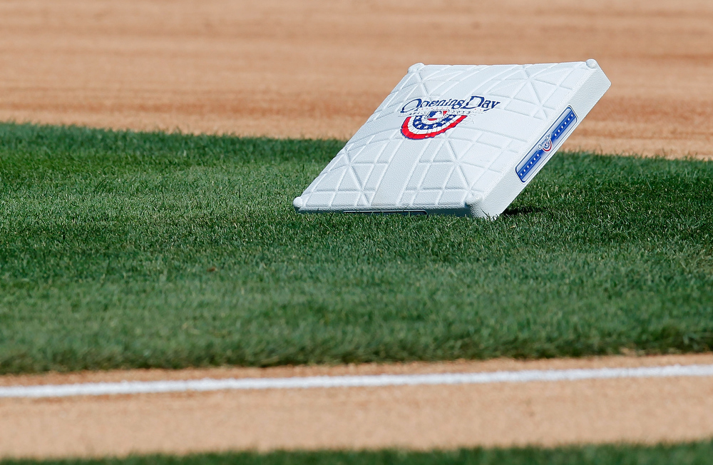 . A base sits on the grass prior to the opening day game between the New York Mets and the San Diego Padres at Citi Field on April 1, 2013 in New York City.  (Photo by Mike Stobe/Getty Images)