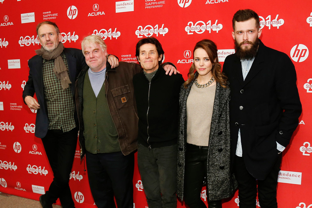 """. From left to right, Director Anton Corbijn and cast members Philip Seymour Hoffman, Willem Dafoe, Rachel McAdams and Grigoriy Dobrygin pose together at the premiere of the film \""""A Most Wanted Man\"""" during the 2014 Sundance Film Festival, on Sunday, Jan. 19, 2014 in Park City, Utah. (Photo by Danny Moloshok/Invision/AP)"""