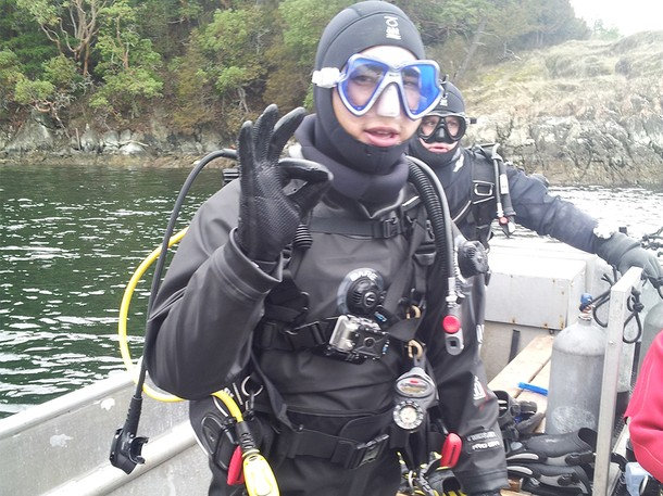 . Francis gets ready to go for a dive in Canada. (Photograph provided by Sharp Entertainment)