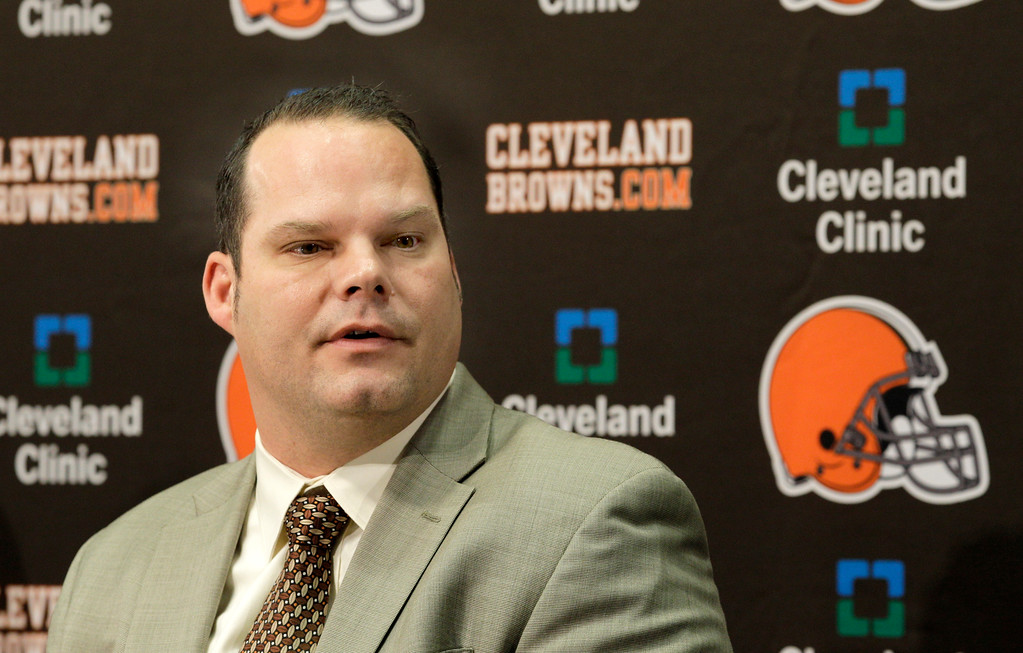 . FILE - This Jan. 14, 2011, file photo shows Cleveland Browns general manager Tom Heckert at a news conference at the Browns training facility in Berea, Ohio.  With wide receiver and defensive linemen a priority, the Cleveland Browns enter the NFL draft with the No. 6 overall pick and three selections in the Top 70.  (AP Photo/Amy Sancetta, File)