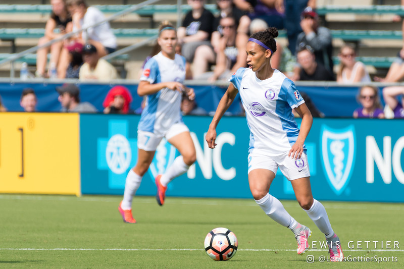 Kristen Edmonds (12) during a match between the NC Courage and the Orlando Pride in Cary, NC in Week 3 of the 2017 NWSL season. Photo by Lewis Gettier.