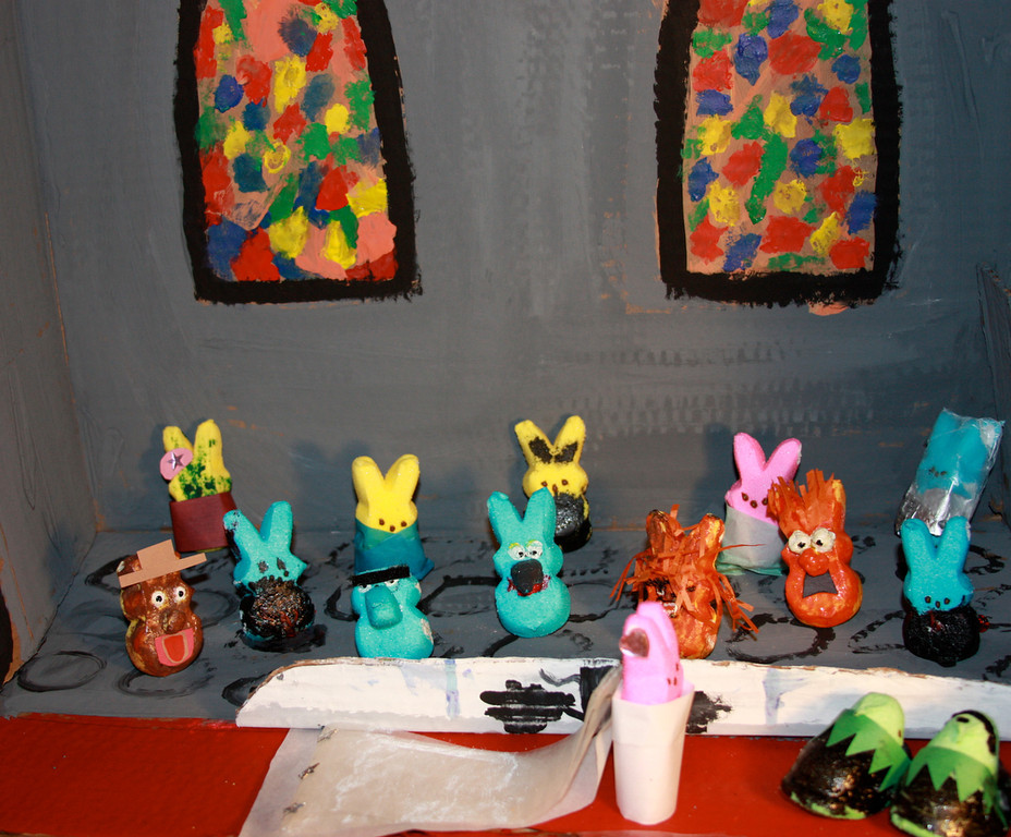 """. \""""Muppeeps Most Wanted:  The Marriage of Miss Pigpeep and Constanpeep.\""""  (Family Project - Lead Artists: Elijah Samford (9) and Benjamin Samford (5) helped by mom and dad)"""