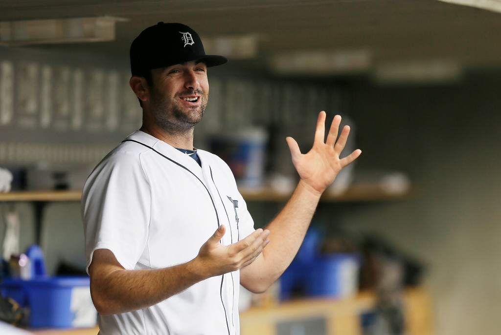. Detroit Tigers relief pitcher Patrick McCoy is seen in the dugout before the first inning of an interleague baseball game against the Colorado Rockies, Friday, Aug. 1, 2014, in Detroit. (AP Photo/Carlos Osorio)