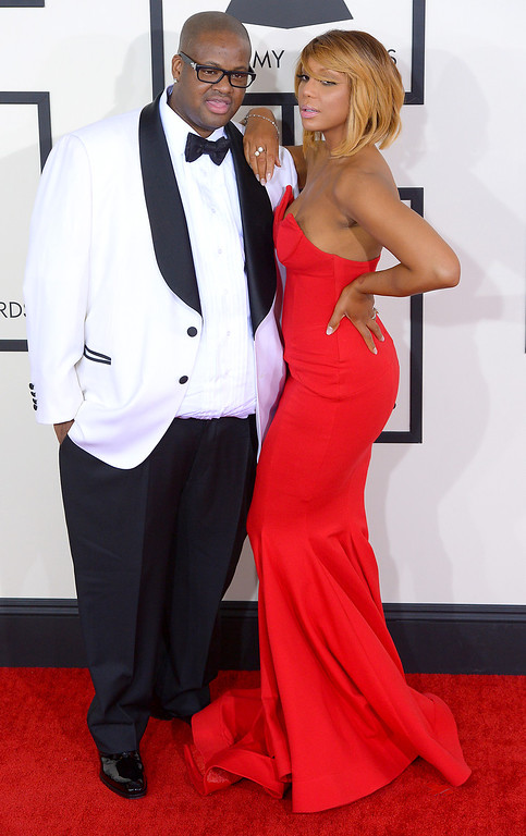 . Tamar Braxton and Vince Herbert arrive at the 56th Annual GRAMMY Awards at Staples Center in Los Angeles, California on Sunday January 26, 2014 (Photo by David Crane / Los Angeles Daily News)
