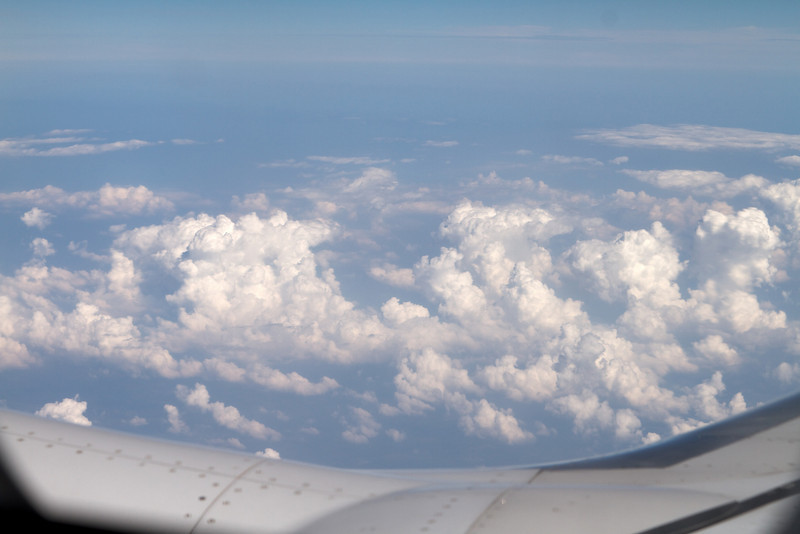 The clouds from our window - somewhere over the eastern seaboard.