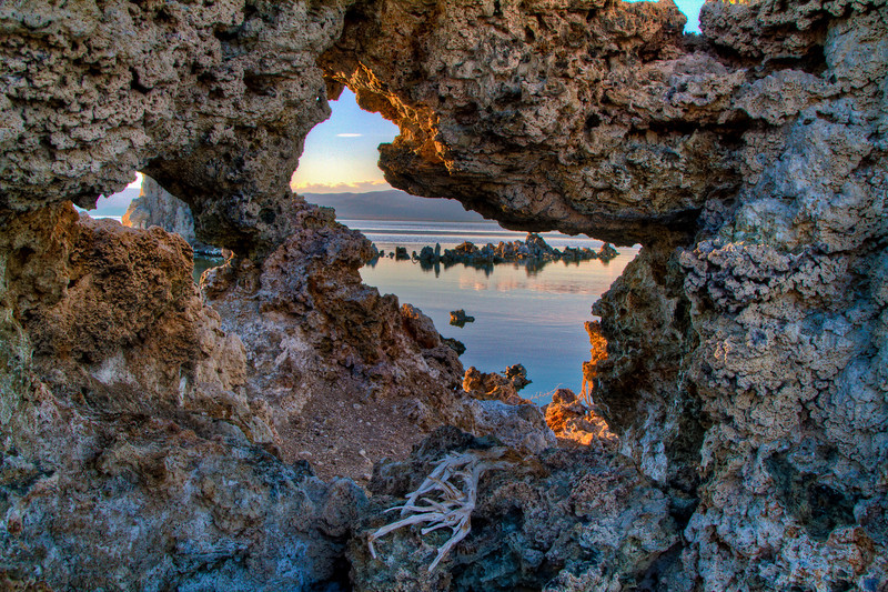 Looking thru a rock at sunset Mono Lake