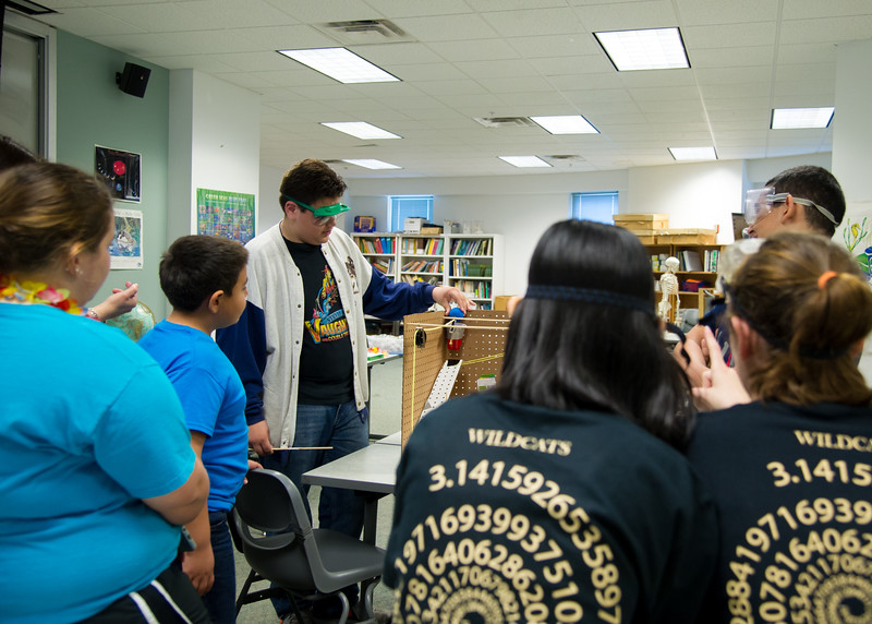 """Students from different schools competed against one another in the """"Mission Possible"""" event during the Science Olympiad."""