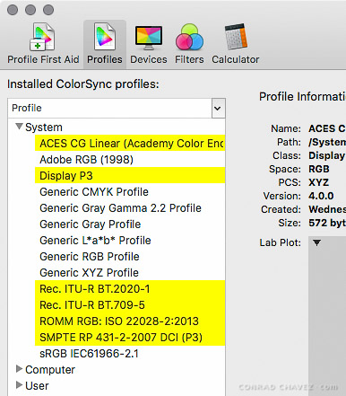 Default system profiles in OS X 10.11 El Capitan