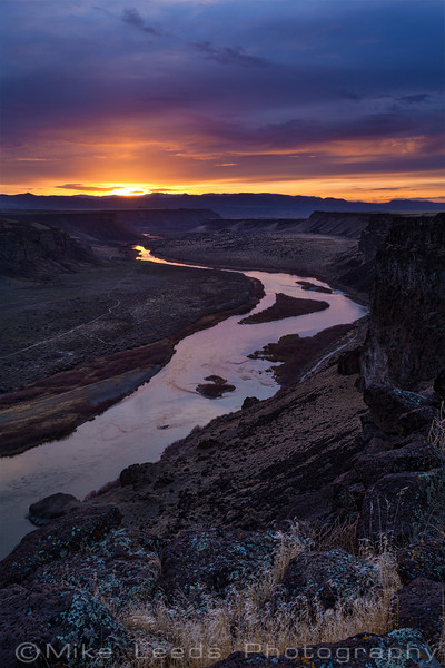 Snake River in Idaho looking towards the Owyhee Mountains on a March evening.