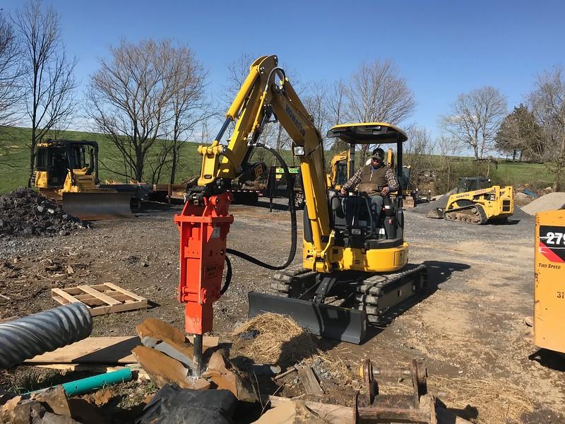 NPK PH2 hydraulic hammer on Komatsu PC30 at Rish Equipment - Apr 2018 (2).jpeg