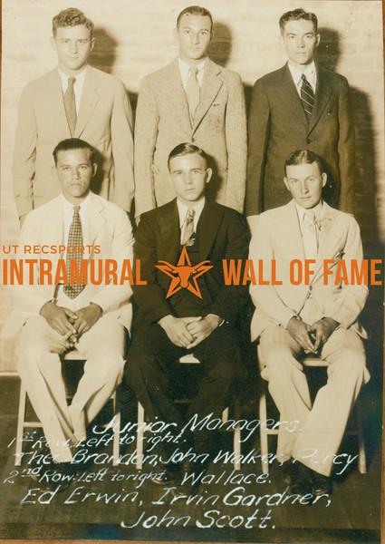 JUNIOR INTRAMURAL MANAGERS  R1: Theodore Brandon, John Walker, Percy Wallace R2: Ed Erwin, Irvin Gardner, John Scott