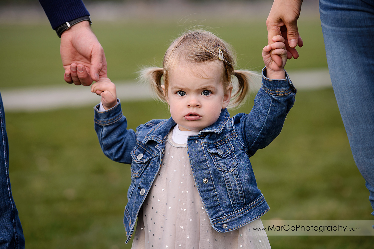 close-up of little girl in white dress and jeans jacket holding parents hands during family session at San Jose Martial Cottle Park