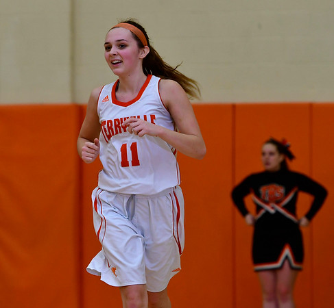 12/21/2018 Mike Orazzi | Staff Terryville's Jordan Conklin (11) during Friday night's girls basketball game with Litchfield in Plymouth.