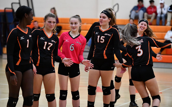 10/18/2019 Mike Orazzi | StaffrTerryville during Friday night's girls volleyball match with Goodwin Tech in Terryville. r