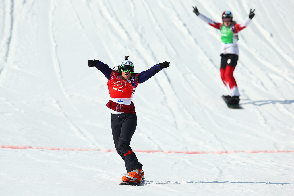 . Eva Samkova of the Czech Republic celebrates winning the the Ladies\' Snowboard Cross Finals on day nine of the Sochi 2014 Winter Olympics at Rosa Khutor Extreme Park on February 16, 2014 in Sochi, Russia.  (Photo by Cameron Spencer/Getty Images)