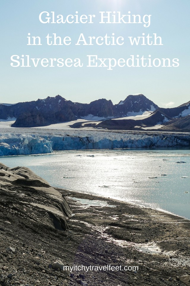 Glacier hiking in the Arctic on a Silversea expedition is a bucket list trip for sure. And it's doable for the active boomer traveler. #hiking #adventure #boomertravel #cruise