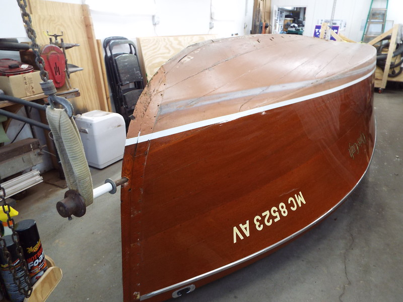 Starboard front view of the hull upside down.