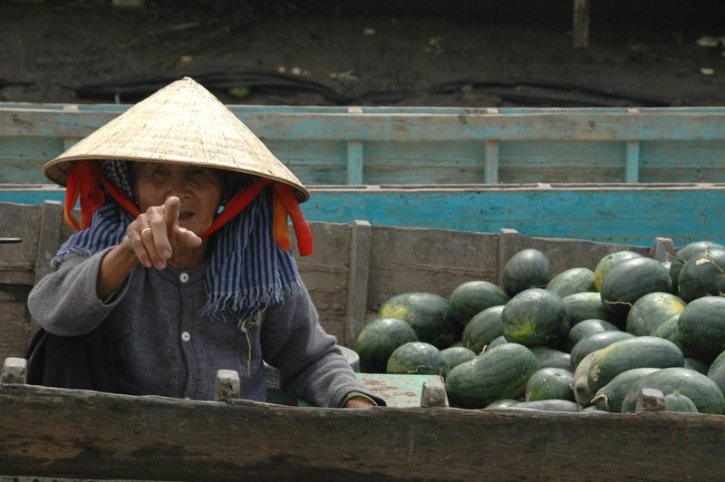 Old Woman Pointing - Mekong Delta, Vietnam