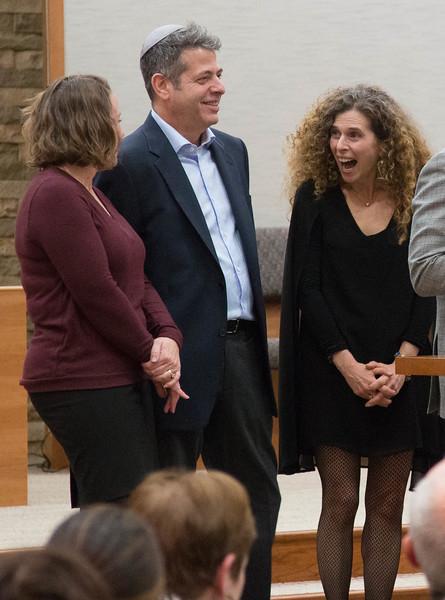 Melanie Wine, Jim Lerner, and Robin Lerner -- Installation Ceremony for Rabbi Greg Harris as Head Rabbi at Congregation Beth El, Bethesda, MD, February 20, 2016
