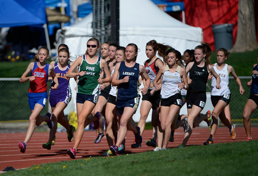 . LAKEWOOD, CO - MAY 16:  Start of the girls 5A 3200 meter run final at the 2013 Colorado State Track and Field Championships at Jeffco Stadium May 16, 2013. (Photo By Andy Cross/The Denver Post)