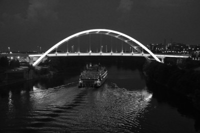Reflections Of Music City In The Night In Black And White