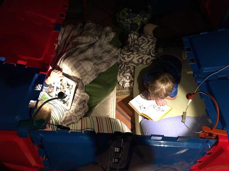 Kol and Henry reading in the fort