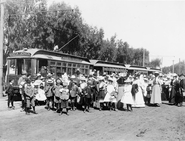 Crowd of people gathered for opening day of the electric car line in Santa Monica, April 1, 1896