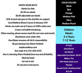 Maple Road Boyz Mask Selection & Order Info.