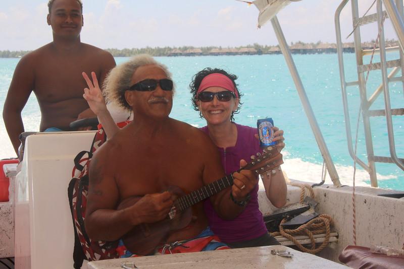 Me and Tepeva Natua, the father who owns Raanui Tours (his son, Raanui in the background) - Bora Bora