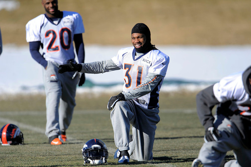. Denver Broncos cornerback Omar Bolden (31) stretches during practice Thursday, January 3, 2013 at Dove Valley.  John Leyba, The Denver Post