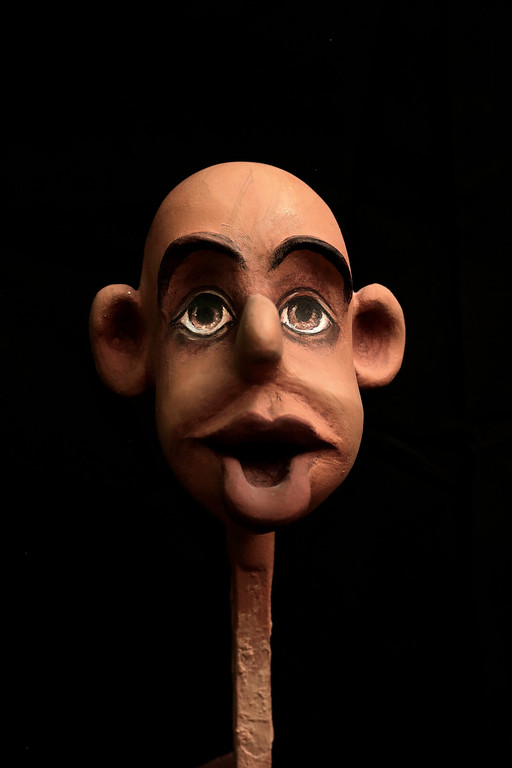 . This April 24, 2018 photo, shows the face of a puppet in the process being made by Egyptian artist Mohamed Fawzi Bakkar, at his workshop, in Cairo, Egypt. Bakkar designs and builds marionettes from scratch, hoping to revive a traditional art. The 32-year-old spends hours or even days designing puppets inspired by Egyptian life -- farmers, street vendors, butchers and the occasional celebrity. (AP Photo/Nariman El-Mofty)