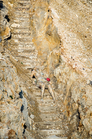 """""""Cliff Staircase"""" 2014 ('bodypaintography' photography) by Cynthia Fleischmann"""