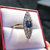 2.93ct Antique Diamond and Sapphire Navette Dinner Ring 13