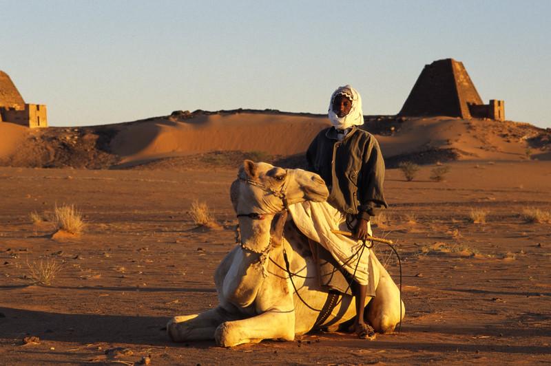Sudanese auf einem Kamel in Meroe