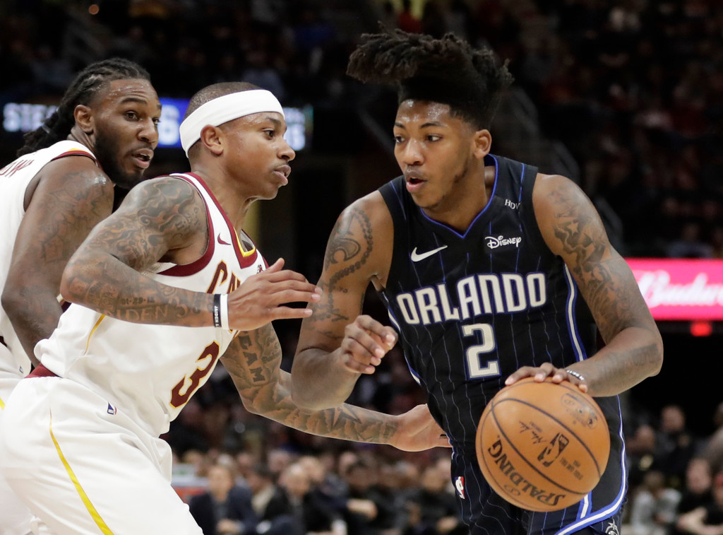 . Orlando Magic\'s Elfrid Payton (2) drives against Cleveland Cavaliers\' Isaiah Thomas (3) during the second half of an NBA basketball game Thursday, Jan. 18, 2018, in Cleveland. The Cavaliers won 104-103. (AP Photo/Tony Dejak)