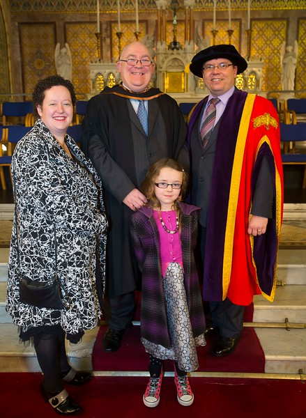 06/01/2015. FREE TO USE IMAGE. WIT (Waterford Institute of Technology) Conferring, Pictured is Michael Browne, Kilmacthomas, Co. Waterford who graduated Higher Diploma in Business, also pictured is Tracey and Roisin Browne and Dr. Ruaidhrí Neavyn, President WIT. Picture: Patrick Browne