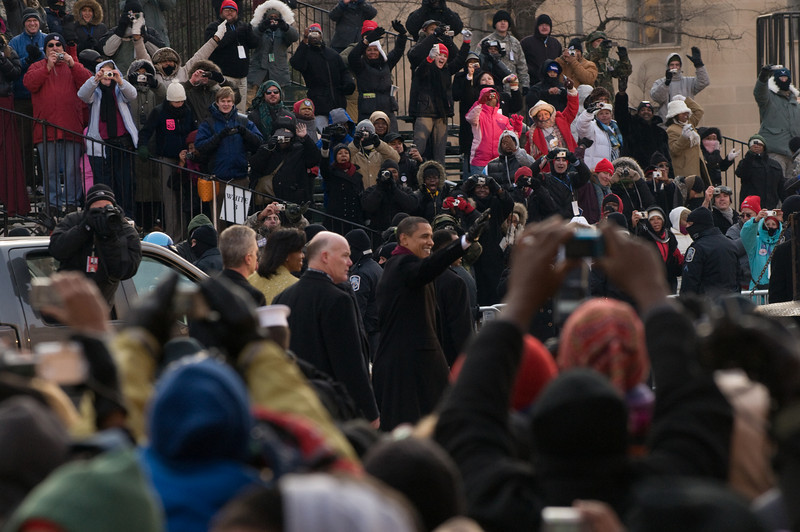 President Barack Obama walked right passed in front of us... 50 feet away!  I felt goose bumps and heard screams of people everywhere!  I was screaming while I took this series of shots and tried not to jump.  OMG!!!