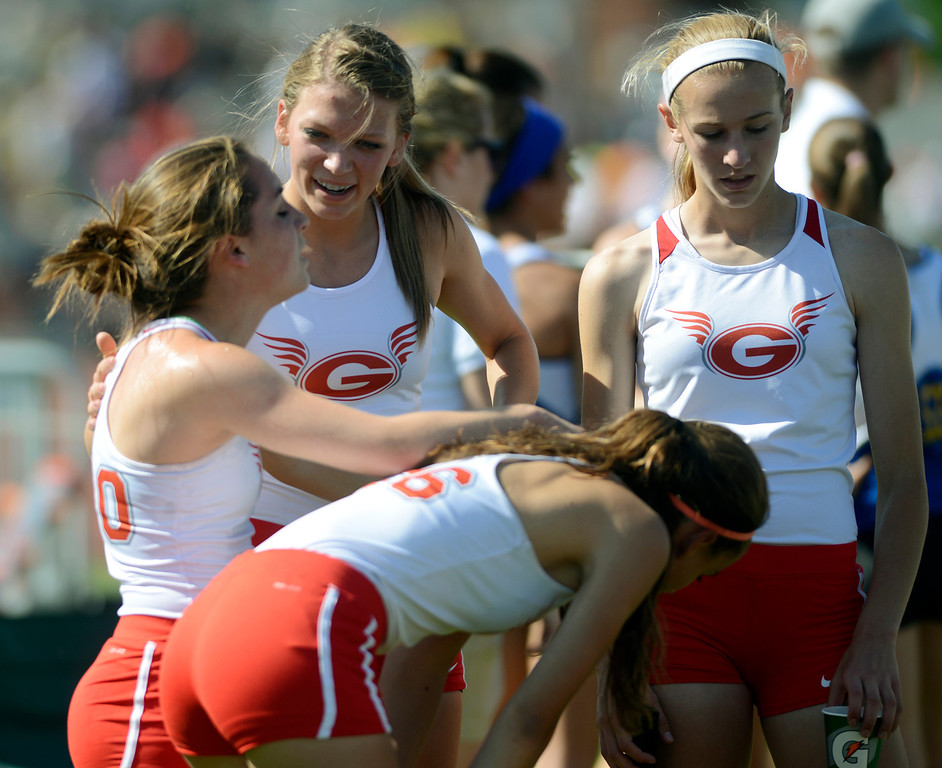 . Maribeth Joeright/MJoeright@News-Herald.com <p> The Geneva girls 4X800 meter relay team reacts with mixed emotions after their second place finish in the event during the state championship meet in Columbus,  June 6, 2014.