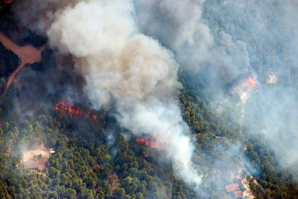 . Aerial photos of the Black Forest Fire outside Colorado Springs, Colorado. (Photo by John Wark / Special to the Denver Post)