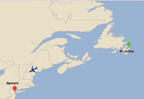 flight map showing us between St. John's and Newark